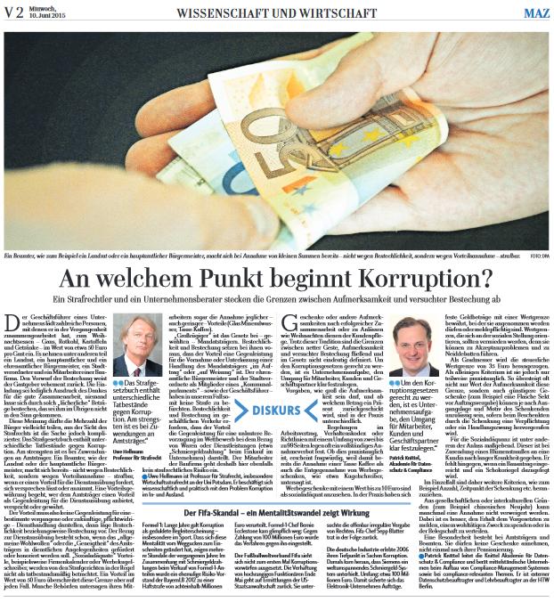 An welchem Punkt beginnt Korruption?
